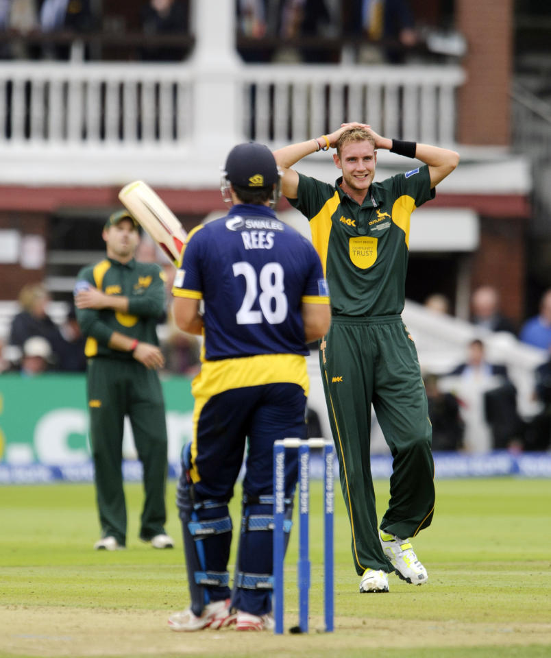 Nottinghamshire's Stuart Broad appeals for the wicket of Glamorgan's Gareth Rees during the Yorkshire Bank Pro40 Final at Lord's Cricket Ground, London.