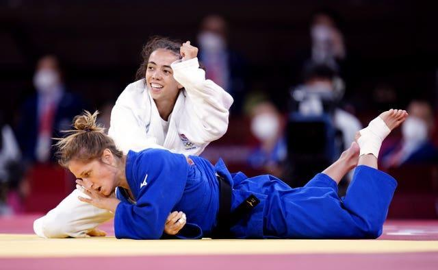 Coventry judoka Chelsie Giles, top, won bronze in the women's -52kg category (Danny Lawson/PA)
