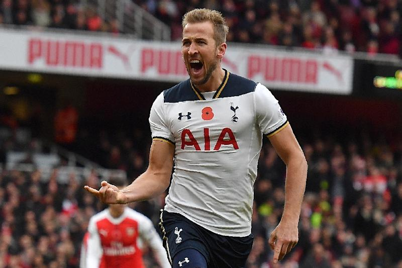 Tottenham Hotspur's Harry Kane celebrates scoring his team's first goal from the penalty spot against Arsenal in what ended a 1-1 draw at the Emirates in London on November 6, 2016