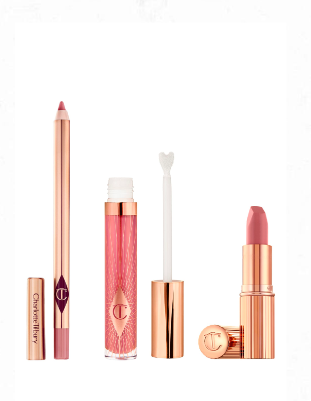 """If you've been wanting to try a lip kit, now's your chance: This three-piece, all-full-size set from makeup master Charlotte Tilbury in her <a href=""""http://glamour.com/story/charlotte-tilbury-pillow-talk-lipstick-review"""" rel=""""nofollow noopener"""" target=""""_blank"""" data-ylk=""""slk:go-everywhere Pillow Talk shade"""" class=""""link rapid-noclick-resp"""">go-everywhere Pillow Talk shade</a> has everything you need for a rosy lip, including a lipstick, a pencil, and a gloss. $91, Nordstrom. <a href=""""https://www.nordstrom.com/s/charlotte-tilbury-pillow-talk-lip-secrets-set-91-value/5585559"""" rel=""""nofollow noopener"""" target=""""_blank"""" data-ylk=""""slk:Get it now!"""" class=""""link rapid-noclick-resp"""">Get it now!</a>"""