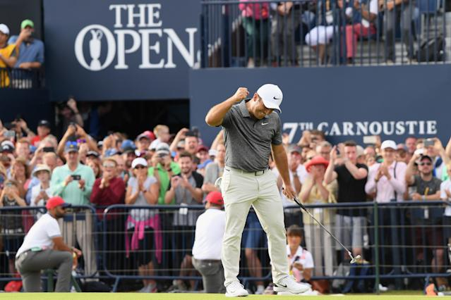 """<h1 class=""""title"""">147th Open Championship - Final Round</h1> <div class=""""caption""""> CARNOUSTIE, SCOTLAND - JULY 22: <a class=""""link rapid-noclick-resp"""" href=""""/golf/european/players/Francesco+Molinari/3885"""" data-ylk=""""slk:Francesco Molinari"""">Francesco Molinari</a> of Italy celebrates a birdie on the 18th hole during the final round of the 147th Open Championship at Carnoustie Golf Club on July 22, 2018 in Carnoustie, Scotland. (Photo by Harry How/Getty Images) </div> <cite class=""""credit"""">Harry How</cite>"""