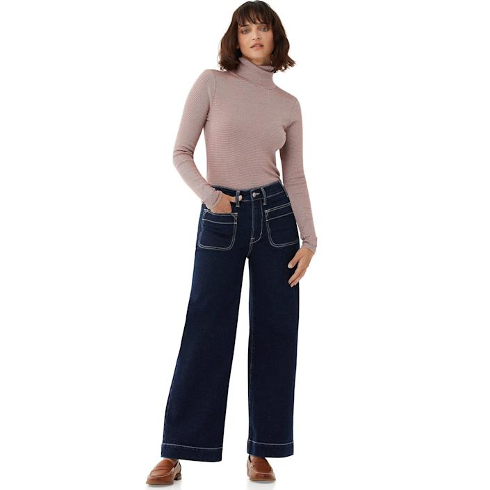 """<br> <br> <strong>Free Assembly</strong> Retro Jeans, $, available at <a href=""""https://go.skimresources.com/?id=30283X879131&url=https%3A%2F%2Fwww.walmart.com%2Fip%2FFree-Assembly-Women-s-Retro-Flare-Jeans%2F737353663"""" rel=""""nofollow noopener"""" target=""""_blank"""" data-ylk=""""slk:Walmart"""" class=""""link rapid-noclick-resp"""">Walmart</a>"""
