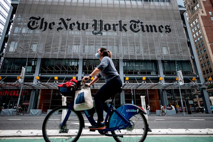 The New York Times building is seen on June 30, 2020 in New York City.
