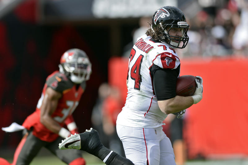 Atlanta Falcons offensive tackle Ty Sambrailo scored a 35-yard touchdown against Tamp Bay on Sunday. (AP/Jason Behnken)