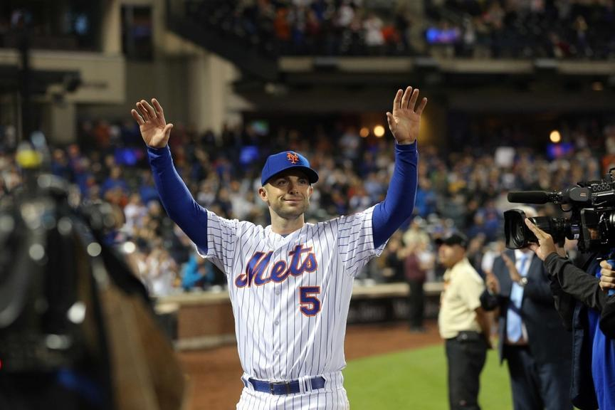 David Wright salutes fans at Citi Field after his final game as a Met
