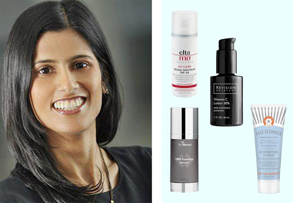 """<h1 class=""""title"""">dr. sejal shah; her favorite skin-care products on a blue background</h1><cite class=""""credit"""">Courtesy of Dr. Shah/Brittany Theophilus</cite>"""