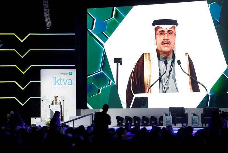 FILE PHOTO: Amin H. Nasser, president and CEO of Saudi Aramco speaks during inauguration of IKTVA Forum and Exhibition 2020 at Dhahran Expo Center, in Dammam