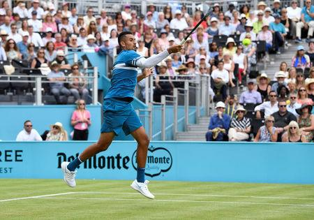 Tennis - ATP 500 - Fever-Tree Championships - The Queen's Club, London, Britain - June 19, 2018   Australia's Nick Kyrgios in action during his first round match against Great Britain's Andy Murray   Action Images via Reuters/Tony O'Brien