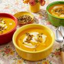 """<p>Looking for a cozy way to start your holiday? This creamy pumpkin soup will do the trick! You can even serve it in a hollowed out pumpkin bowl to make the table look festive. </p><p><a href=""""https://www.thepioneerwoman.com/food-cooking/recipes/a10399/pumpkin-soup/"""" rel=""""nofollow noopener"""" target=""""_blank"""" data-ylk=""""slk:Get Ree's recipe."""" class=""""link rapid-noclick-resp""""><strong>Get Ree's recipe. </strong></a></p><p><a class=""""link rapid-noclick-resp"""" href=""""https://go.redirectingat.com?id=74968X1596630&url=https%3A%2F%2Fwww.walmart.com%2Fsearch%3Fq%3Dpioneer%2Bwoman%2Bsoup%2Bbowl&sref=https%3A%2F%2Fwww.thepioneerwoman.com%2Ffood-cooking%2Fmeals-menus%2Fg37320750%2Fthanksgiving-appetizers%2F"""" rel=""""nofollow noopener"""" target=""""_blank"""" data-ylk=""""slk:SHOP SOUP BOWLS"""">SHOP SOUP BOWLS</a></p>"""