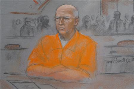"A courtroom artist's sketch shows convicted mobster James ""Whitey"" Bulger in federal court during the first of two days of his sentencing hearing in Boston"