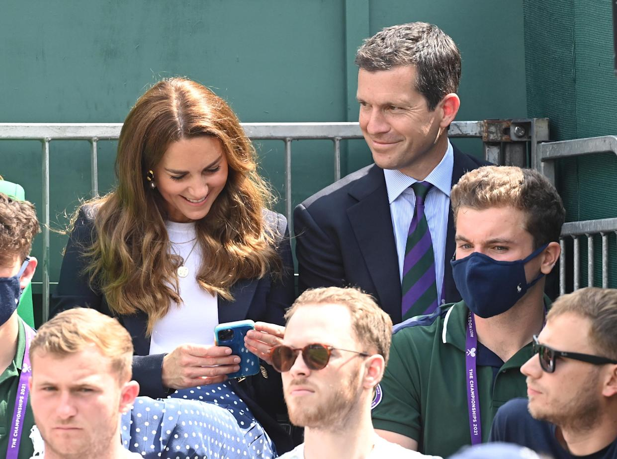 LONDON, ENGLAND - JULY 02: Catherine, Duchess of Cambridge and Tim Henman during the Wimbledon Tennis Championships at the All England Lawn Tennis and Croquet Club on July 02, 2021 in London, England. (Photo by Karwai Tang/WireImage)