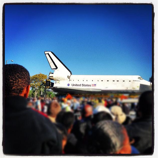 This morning at #Endeavour. Best @yahoolookout assignment ever. (Photo courtesy of Yahoo! editor Max Zimbert)
