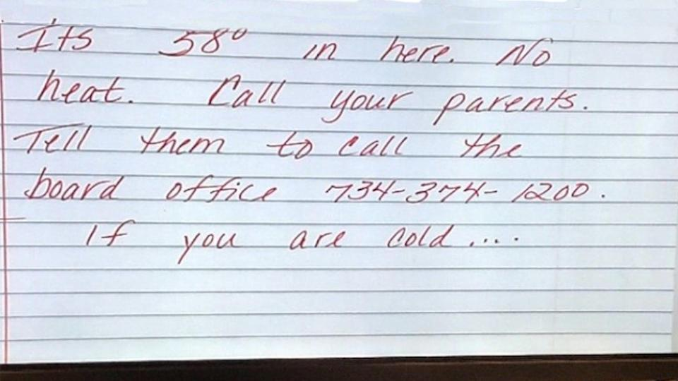 Mary Logan, a high school teacher in Michigan, was suspended for three days after writing a note encouraging students to tell their parents to call the school district about the chilly classroom temperatures. (Photo: Taylor Federation of Teachers)