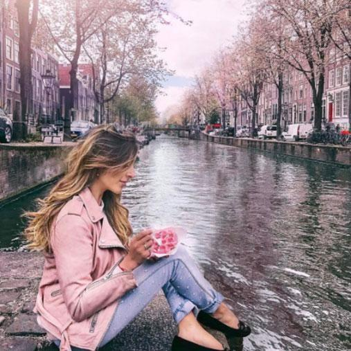 Amelia's have taken her to the picturesque canals of Amsterdam. Photo: Instagram