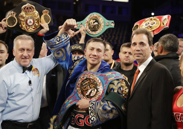 Gennady Golovkin celebrates after defeating Vanes Martirosyan in their middleweight title boxing match Saturday, May 5, 2018, in Carson, Calif. (AP Photo/Chris Carlson)