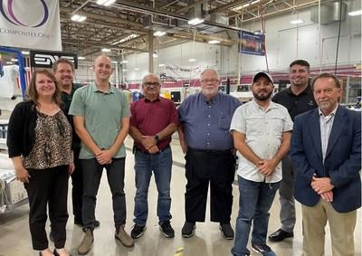 Eastern Florida State College (EFSC) and Space Coast Consortium (SCC) officials receive composites technician training through IACMI at Davis Technical College. From left, are Joannie Harmon (IACMI), Eric Anderson (Davis Tech), Tyler Blevins (IACMI), EFSC Engineering Technology Associate Professor Meer Almeer, EFSC Aerospace and Engineering Instructor Ted Hartselle, EEFSC Mechatronics Instructor Jean Paul Aliaga, Wes Hobbs (Davis Tech) and SCC Founder Bryan Kamm.