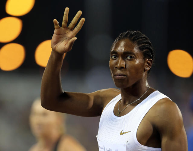 South Africa's Caster Semenya celebrates after she won the woman's 1500 meter during the Qatar Diamond League in Doha, Qatar, Friday, May 4, 2018. (AP Photo/Kamran Jebreili)