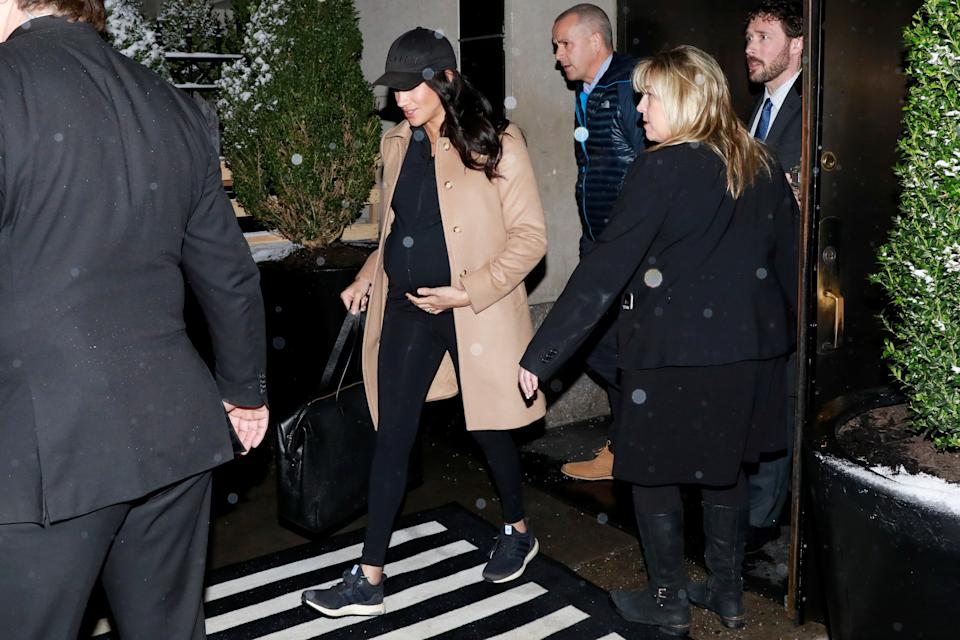 Meghan Markle, Duchess of Sussex, exits The Mark Hotel following her baby shower in the Manhattan borough of New York City, New York, U.S., February 20, 2019. REUTERS/Andrew Kelly