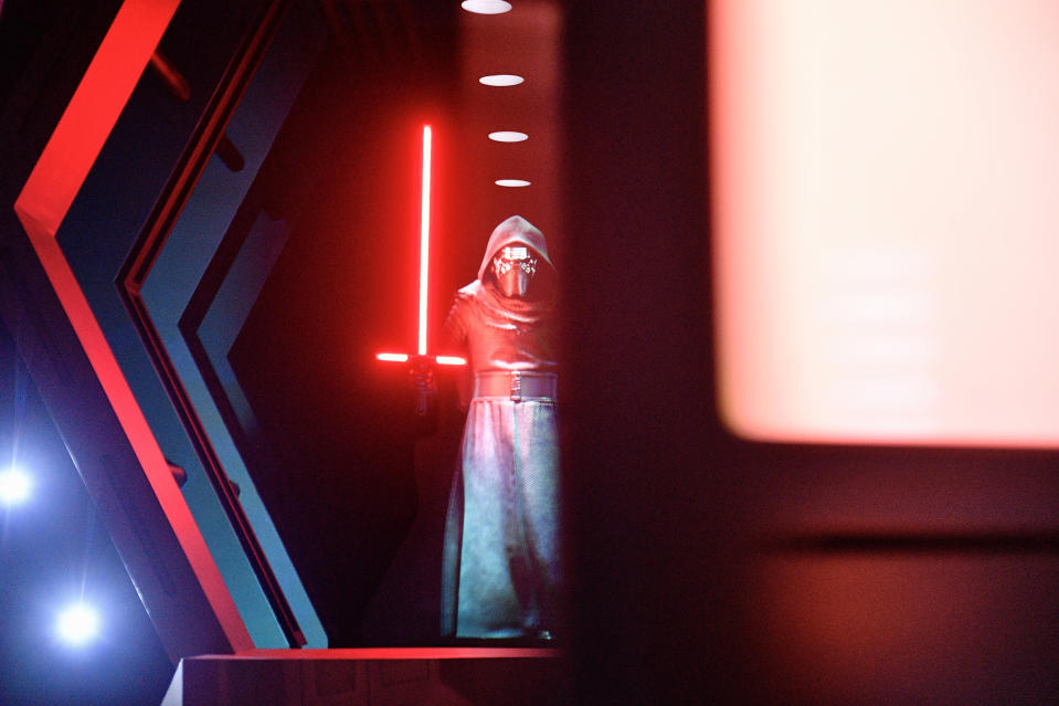 "ANAHEIM, CA - JANUARY 16: Kylo Ren chase after visitors as doors close on him aboard a Star Destroyer during Rise of the Resistance at Star Wars: Galaxy""u2019s Edge inside Disneyland in Anaheim, CA, on Thursday, Jan. 16, 2020. ""n(Photo by Jeff Gritchen, Orange County Register/SCNG)"