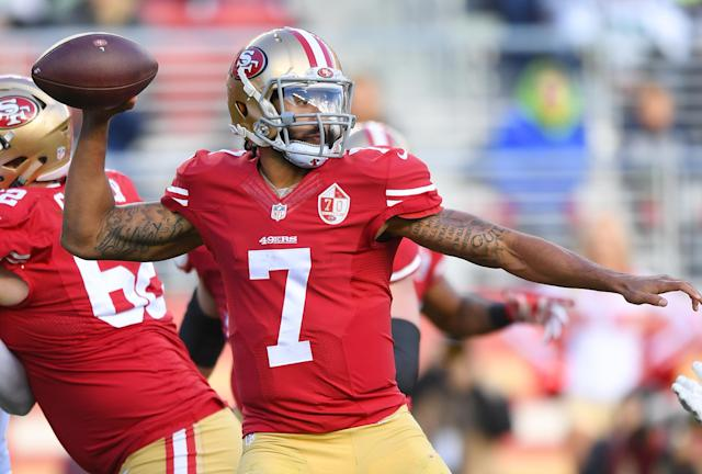 Colin Kaepernick's lawyer is on a public campaign to get his client signed and is calling out teams by name. (Getty)