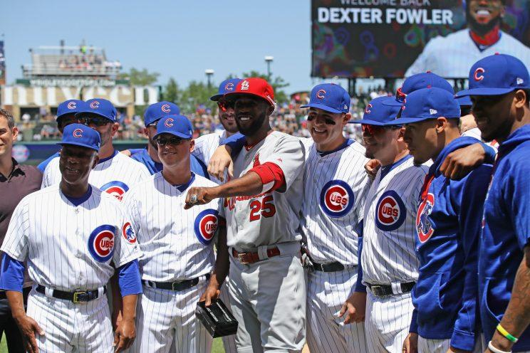 Dexter Fowler got his World Series ring on Friday. (Getty Images)