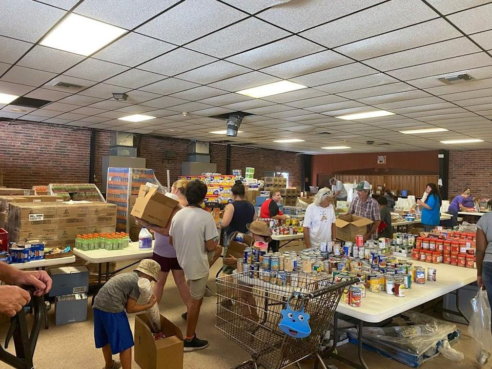 The Ward 7 Citizens Club in Chauvin, Louisiana has been transformed into a food bank and supply centre after Hurricane Ida. (Alex Woodward)