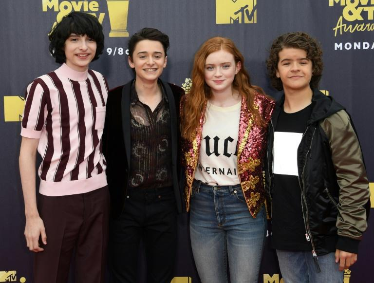 "From left to right, actors Finn Wolfhard, Noah Schnapp, Sadie Sink,  and Gaten Matarazzo of the series ""Stranger Things"" attend the MTV Movie & TV awards"