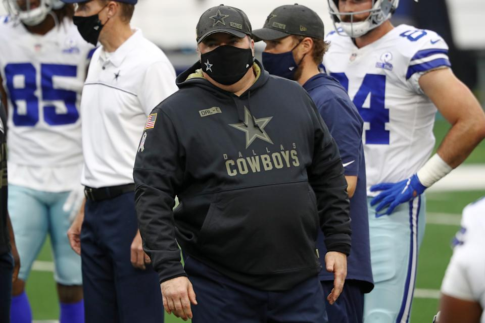 Head coach Mike McCarthy of the Dallas Cowboys watches action prior to a game against the Pittsburgh Steelers at AT&T Stadium on November 08, 2020 in Arlington, Texas. (Photo by Ronald Martinez/Getty Images)