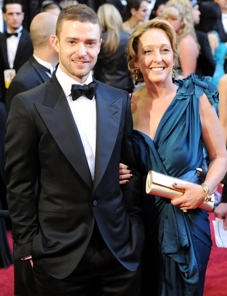 <p>Justin Timberlake brought his mom, Lynn Harless, as his date. He was in attendance with the cast of <em>The Social Network</em>, which was up for Best Picture. </p>