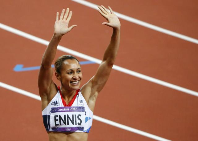 Britain's Jessica Ennis celebrates after finishing first in her women's heptathlon 200m heat at the London 2012 Olympic Games at the Olympic Stadium August 3, 2012. REUTERS/David Gray (BRITAIN - Tags: OLYMPICS SPORT ATHLETICS) Picture Supplied by Action Images PLEASE NOTE: FOR EDITORIAL USE ONLY