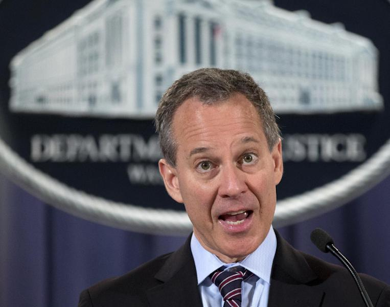 FILE - In this Oct. 2, 2012 file photo, New York Attorney General Eric Schneiderman speaks during a news conference at the Justice Department in Washington. Schneiderman is urging the NFL to look into whether recruits were improperly asked about their sexual orientation which he says would be illegal in New York. Schneiderman is releasing a letter to NFL Commissioner Goodell reminding him that discrimination based on sexual orientation is illegal in New York and in at least 23 other states where the NFL's 32 teams are based. (AP Photo/Carolyn Kaster, File)