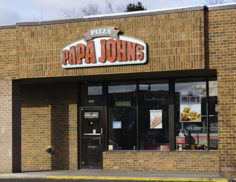 Rochester Hills, Michigan, USA - March 21, 2016: A Papa John's pizzeria on South Rochester Road in Rochester Hills, Michigan. Papa John's is a chain of pizzerias with over 4700 locations wordwide.