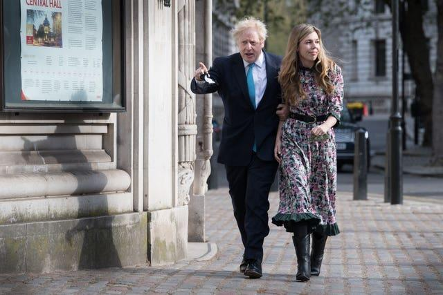 Prime Minister Boris Johnson and his fiancee Carrie Symonds