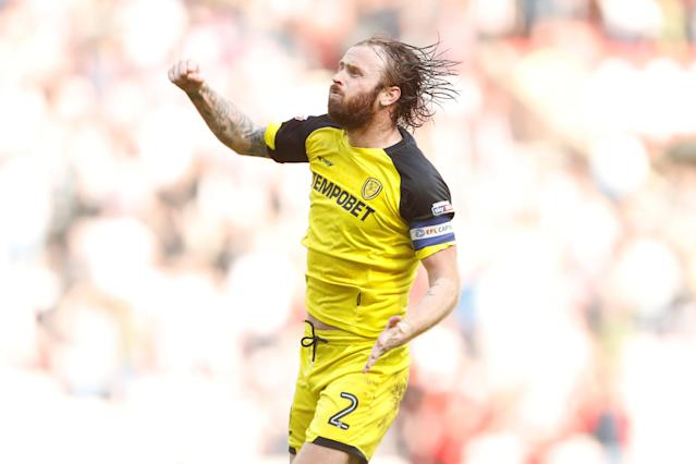 "Soccer Football - Championship - Sunderland v Burton Albion - Stadium of Light, Sunderland, Britain - April 21, 2018 Burton Albion's John Brayford celebrates Action Images/Lee Smith EDITORIAL USE ONLY. No use with unauthorized audio, video, data, fixture lists, club/league logos or ""live"" services. Online in-match use limited to 75 images, no video emulation. No use in betting, games or single club/league/player publications. Please contact your account representative for further details."
