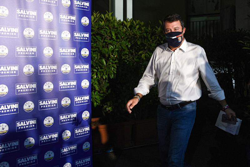 Head of the Lega party, Italian senator Matteo Salvini arrives to address a press conference at the Lega headquarters in Milan, Italy, on September 21, 2020 within a nationwide referendum vote on cutting parliament numbers, and regional elections held at the same time. (Photo by Piero CRUCIATTI / AFP) (Photo by PIERO CRUCIATTI/AFP via Getty Images) (Photo: PIERO CRUCIATTI via Getty Images)