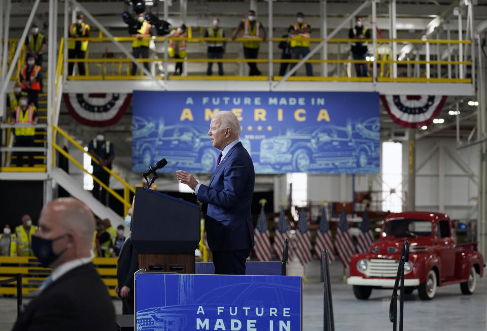 President Joe Biden speaks after a tour of the Ford Rouge EV Center, Tuesday, May 18, 2021, in Dearborn, Mich. (AP Photo/Evan Vucci)