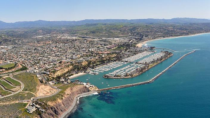 Beaches were closed from Newport Beach to Dana Point (pictured): Don Ramey Logan