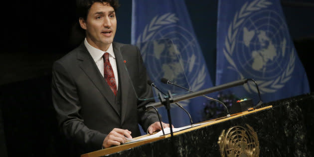 Prime Minister Justin Trudeau delivers his remarks during the signing ceremony on climate change held at the United Nations Headquarters in Manhattan on April 22, 2016.