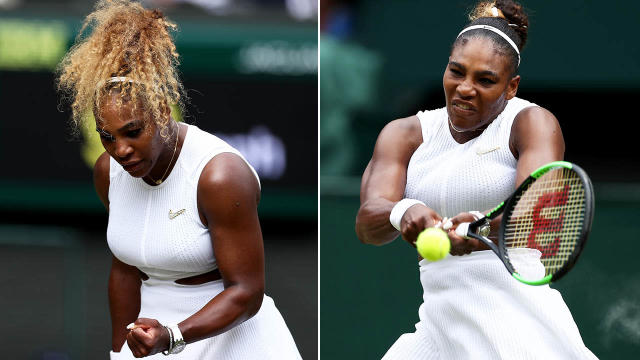 Serena Williams started with a pony tail but switched to a bun. Image: Getty
