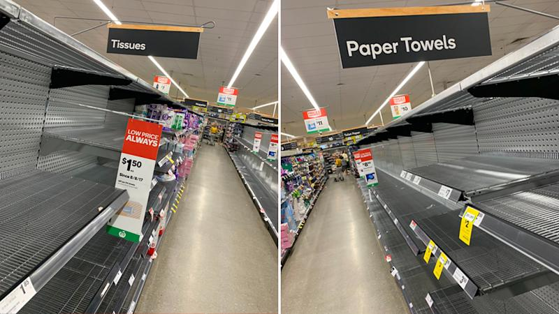 Pictured are empty shelves at Woolworths and Coles during coronavirus outbreak.