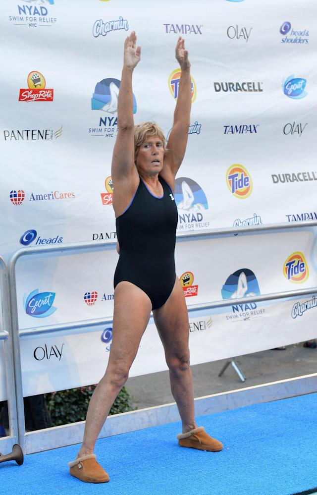 "NEW YORK, NY - OCTOBER 08: Long-distance swim legend Diana Nyad, fresh off her record-braking swim from Cuba to Florida attends day 1 of ""Swim For Relief"" Benefiting Hurricane Sandy Recovery at Herald Square on October 8, 2013 in New York City. (Photo by Slaven Vlasic/Getty Images)"