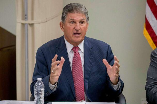 PHOTO: In this July 8, 2019, file photo, Sen. Joe Manchin, speaks at a roundtable on the opioid epidemic at Cabell-Huntington Health Center in Huntington, W.Va. (Andrew Harnik/AP Photo)