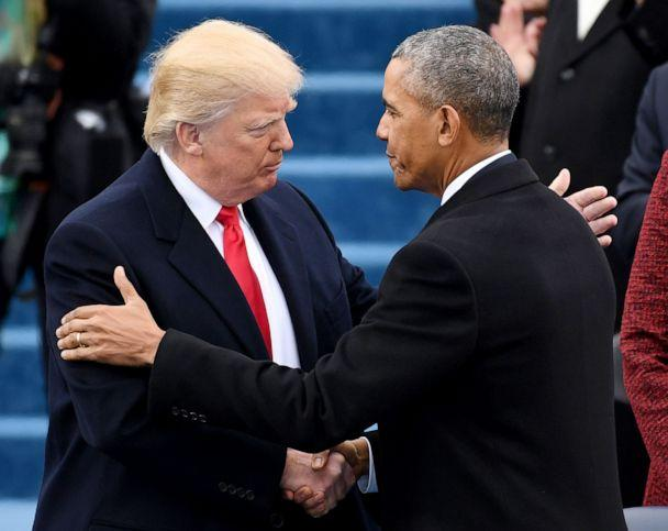 PHOTO: President Donald Trump shakes hands former President Barack Obama during the 58th presidential inauguration in Washington, Jan. 20, 2017.  (Bloomberg via Getty Images, FILE)