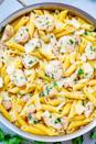 """<p>Sometimes, simple is just better<em>.</em> Made with just a few basic ingredients, this buttery pasta dish is proof of that.</p><p><strong>Get the recipe at <a href=""""https://www.averiecooks.com/lemon-butter-garlic-chicken-pasta/"""" rel=""""nofollow noopener"""" target=""""_blank"""" data-ylk=""""slk:Averie Cooks"""" class=""""link rapid-noclick-resp"""">Averie Cooks</a>.</strong></p><p><strong><a class=""""link rapid-noclick-resp"""" href=""""https://go.redirectingat.com?id=74968X1596630&url=https%3A%2F%2Fwww.walmart.com%2Fbrowse%2Fhome%2Fthe-pioneer-woman-pots-pans%2F4044_623679_8140341_9944424&sref=https%3A%2F%2Fwww.thepioneerwoman.com%2Ffood-cooking%2Fmeals-menus%2Fg37103321%2Fchicken-pasta-recipes%2F"""" rel=""""nofollow noopener"""" target=""""_blank"""" data-ylk=""""slk:SHOP POTS AND PANS"""">SHOP POTS AND PANS</a><br></strong></p>"""