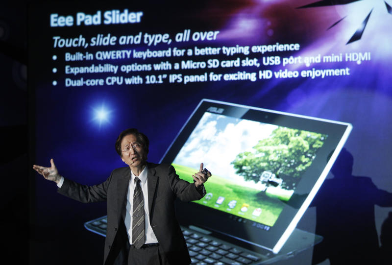 Jonney Shih, chairman of AsusTek Computer Inc., displays the latest AsusTek innovations at a press conference before the opening of Computex computer expo in Taipei, Taiwan, Monday, May 30, 2011.  Computex, the world's second largest computer show, begins its annual five-day run in Taipei Tuesday. (AP Photo/Wally Santana)