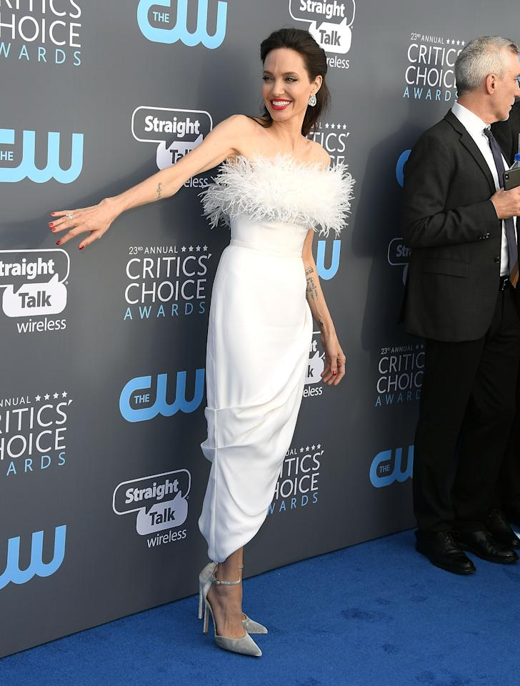 <p>arrives at the The 23rd Annual Critics' Choice Awards at Barker Hangar on January 11, 2018 in Santa Monica, California. </p>