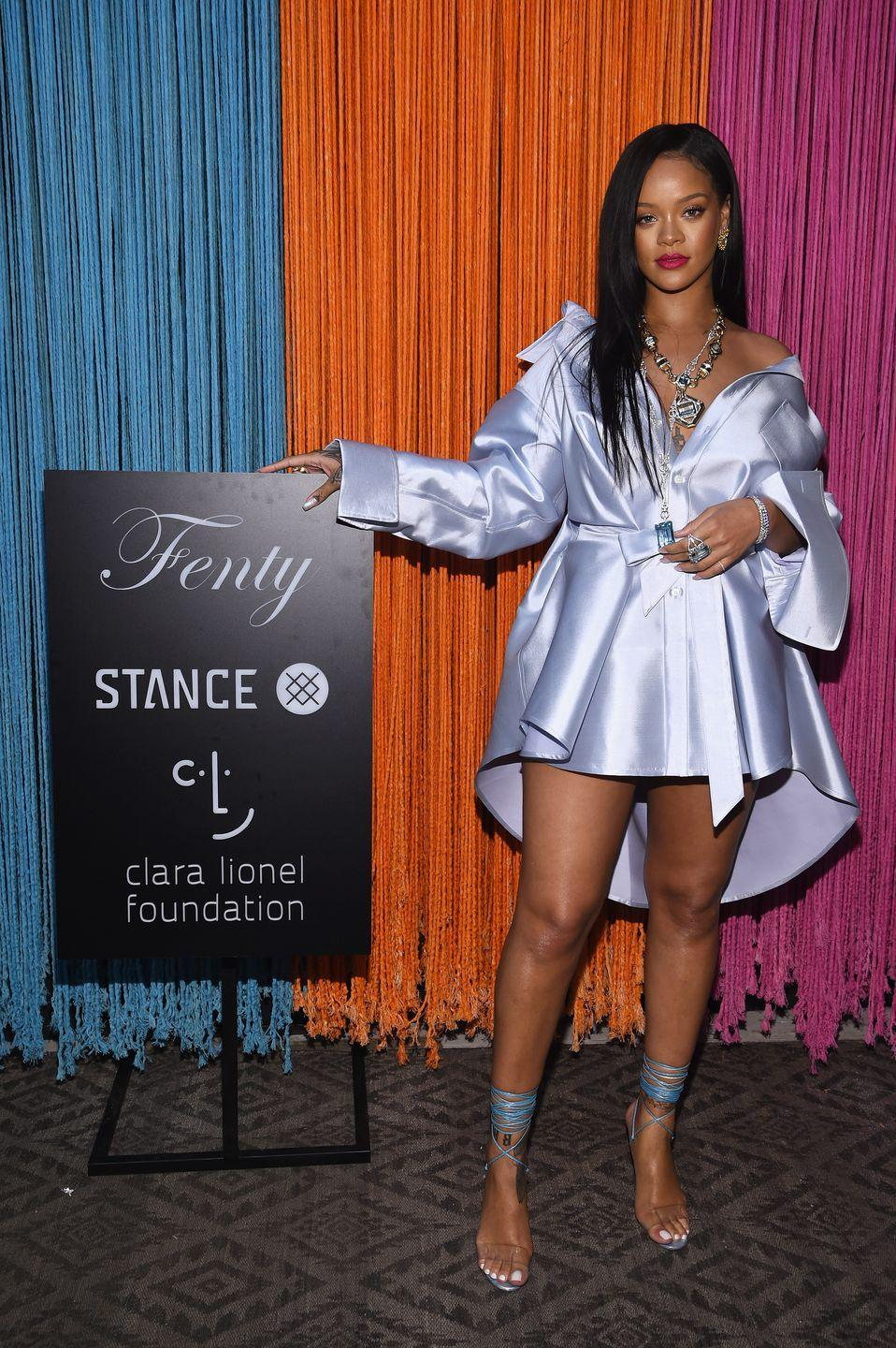 <p>The singer wore an ice blue dress to an event for the Clara Lionel Foundation.</p>