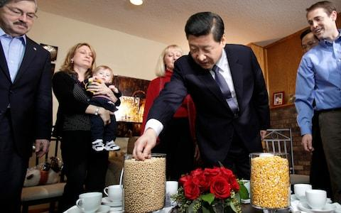 Xi Jinping looks at vases full of soybeans and corn as Iowa Gov. Terry Branstad (L) looks on during a visit to the Rick Kimberley family farm on February 16, 2012 in Maxwell, Iowa - Credit:  Charlie Neibergall/AFP / Getty Images