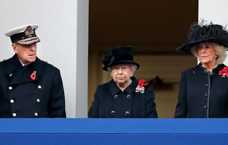 The Queen watched the ceremony from a balcony this year with Prince Philip and the Duchess of Cornwall. Source: Getty