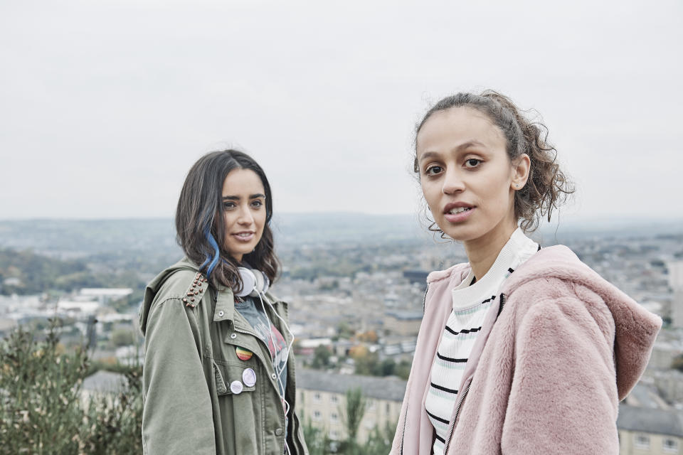 Kayla (Robyn Cara), Fizza (Yasmin Al Khudhairi) in Ackley Bridge (Stuart Wood/Channel 4)